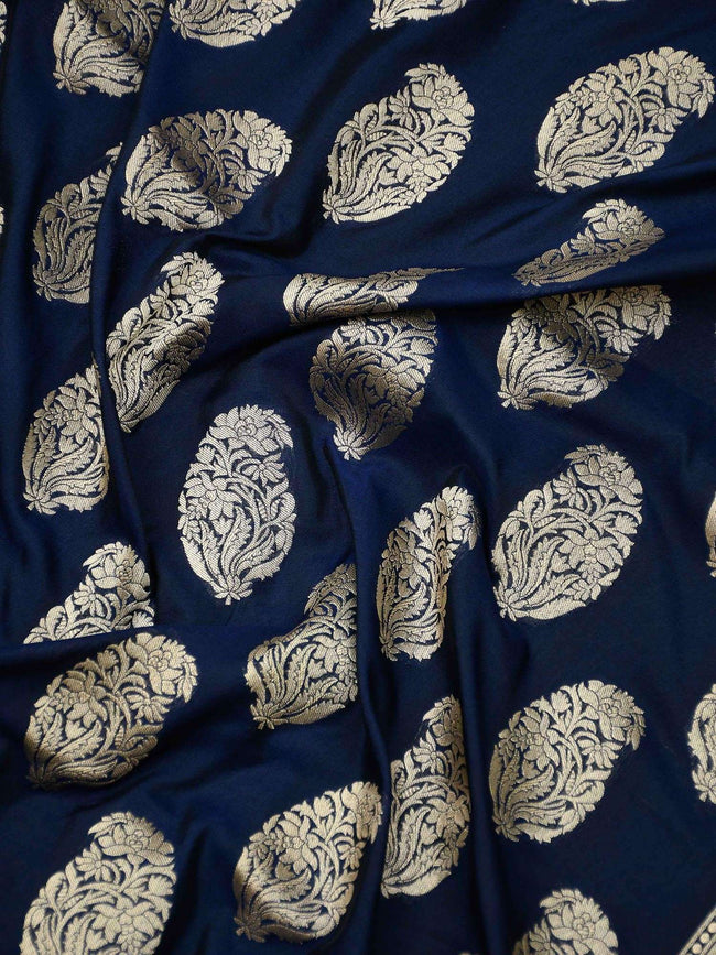 Navy Blue Color Gold Boota Uppada Pure Katan Silk Banarasi Saree - Sacred Weaves