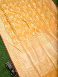 Yellow Color Floral Gold Zari Jaal Pure Katan Silk Banarasi Saree - Sacred Weaves