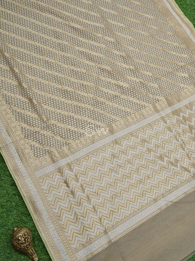Greyish Beige Gold Zari Border Cotton Silk Chanderi Saree - Sacred Weaves