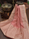 Gorgeous Peach Color Gold Zari Border Cotton Silk Chanderi Saree - Sacred Weaves