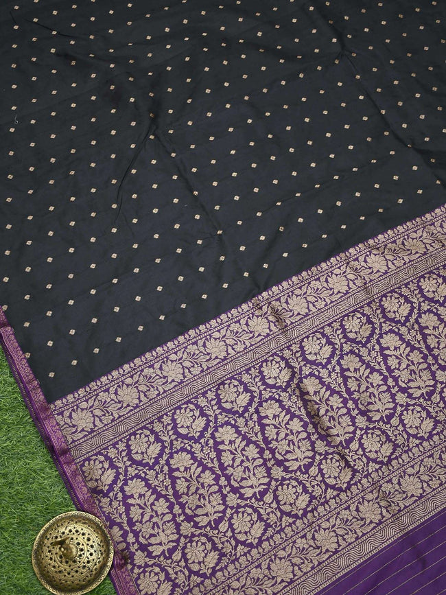 Black Color Antique Zari Pure Katan Silk Banarasi Saree - Sacred Weaves