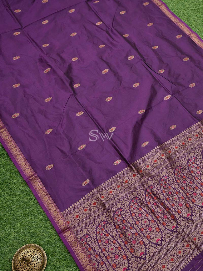 Gorgeous Purple Color Meenakari Antique Zari Pure Katan Silk Banarasi Saree - Sacred Weaves