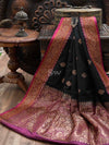 Black Contrast Border Pure Dupion Silk Banarasi Saree - Sacred Weaves