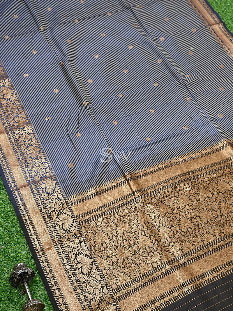 Navy Blue Tussar Silk Handloom Banarasi Saree - Sacred Weaves