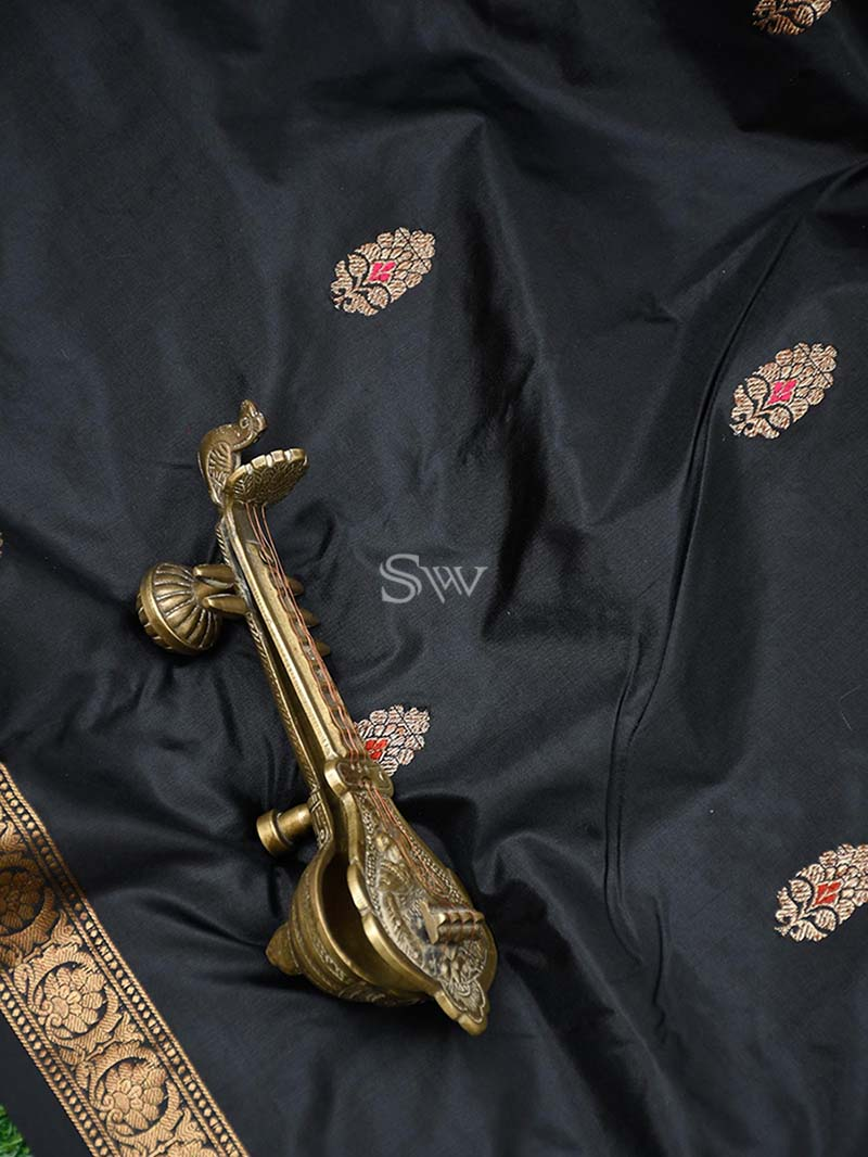 Stunning Black Color Meenakari Antique Zari Pure Katan Silk Banarasi Saree - Sacred Weaves