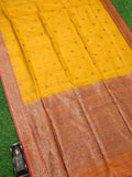 Yellow Contrast Border Antique Zari Pure Dupion Silk Banarasi Saree - Sacred Weaves
