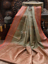 Moss Grey Antique Zari Pure Dupion Silk Banarasi Saree - sacred Weaves