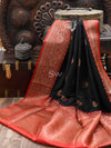 Black Antique Zari Contrast Border Pure Dupion Silk Banarasi Saree - Sacred Weaves