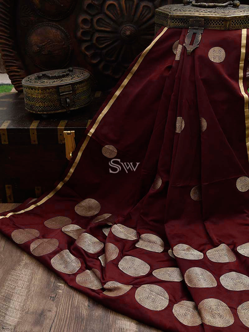 Wine Satin Silk Banarasi Handloom Saree - Sacred Weaves
