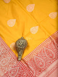 Mustard  Ornamental Boota Contrast Border Pure Katan Silk Banarasi Saree - Sacred Weaves