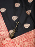 Black Gold Zari Contrast Border Pure Katan Silk Banarasi Saree - Sacred Weaves