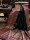 Black Dupion Silk Banarasi Handloom Saree - Sacred Weaves