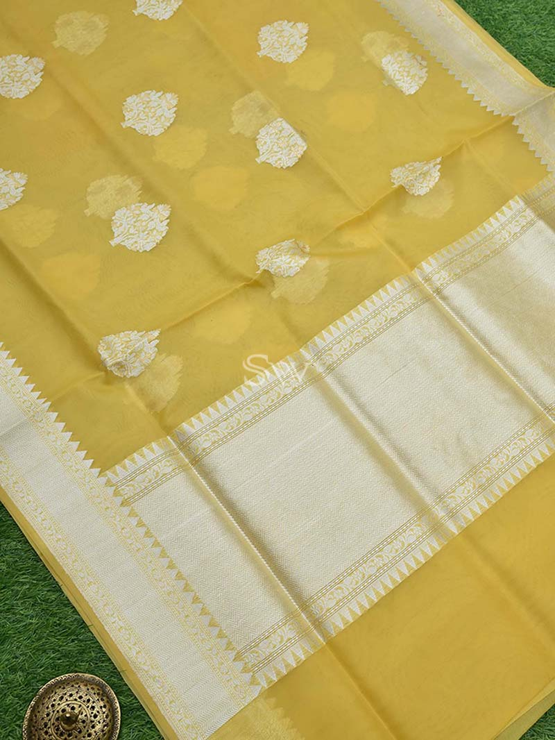 Yellow Organza Handloom Banarasi Saree - Sacred Weaves
