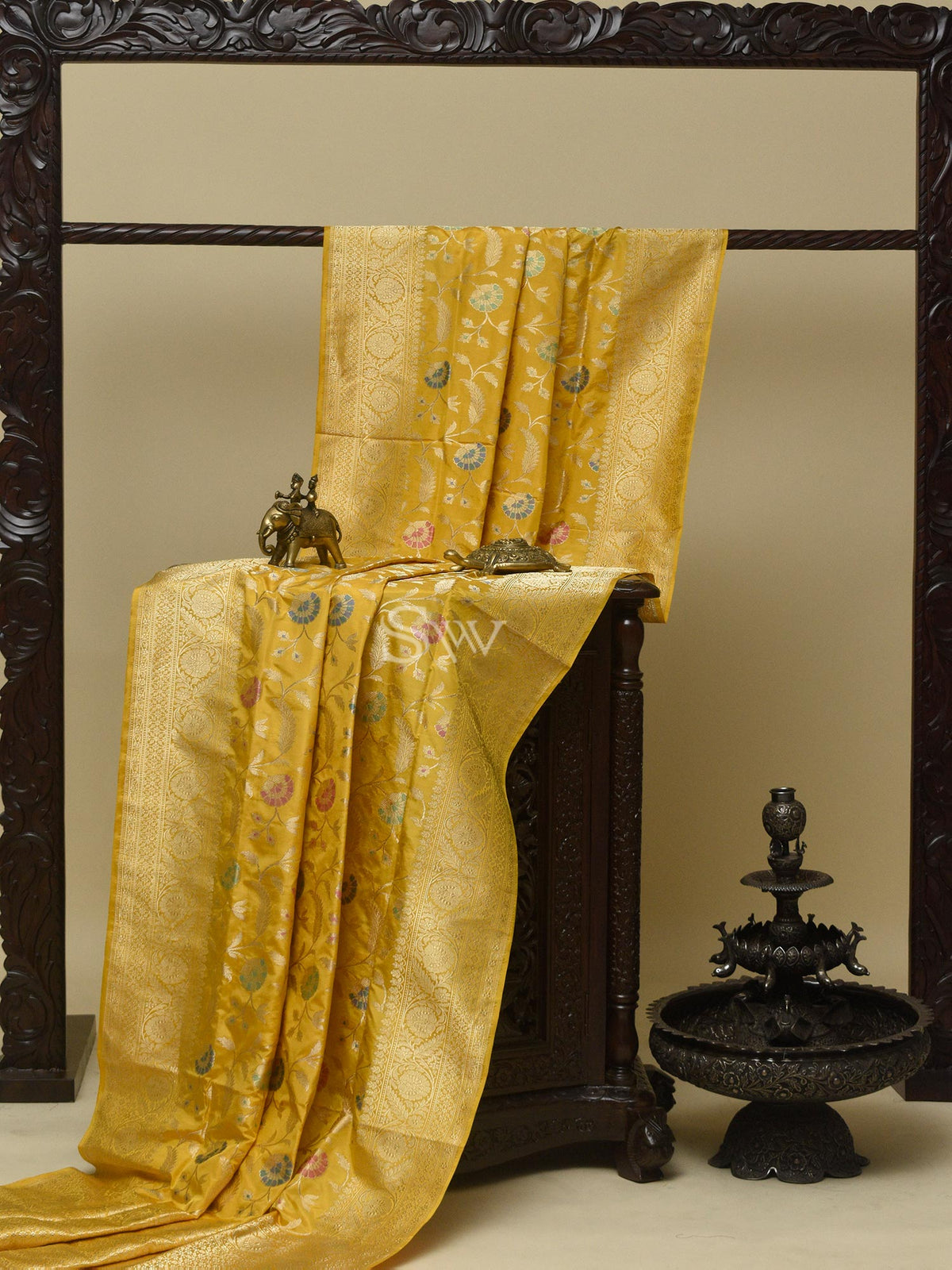 Yellow Meenakari Katan Silk Handloom Banarasi Saree - Sacred Weaves
