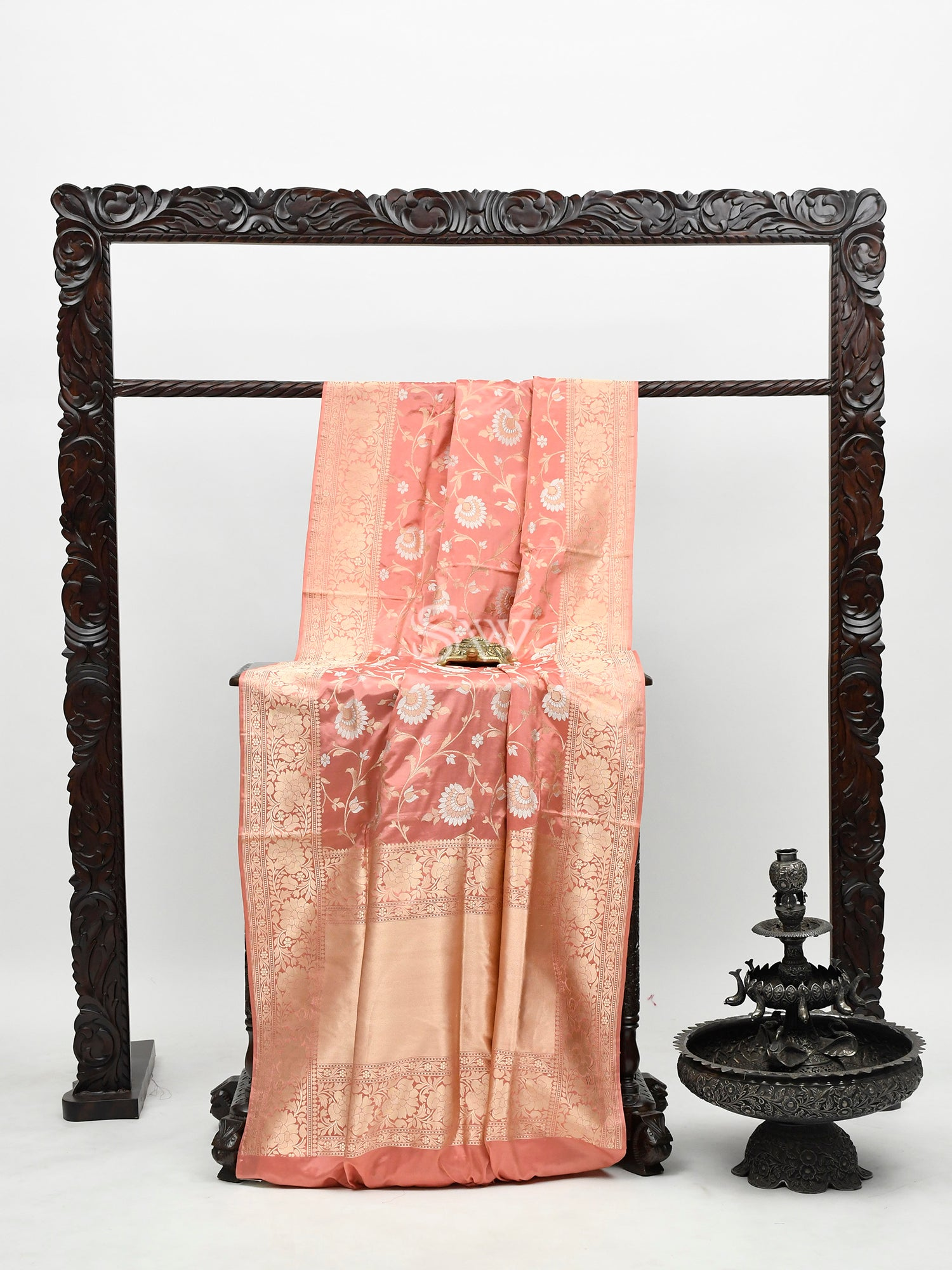 Rose Gold Katan Silk Handloom Banarasi Saree -Sacred Weaves