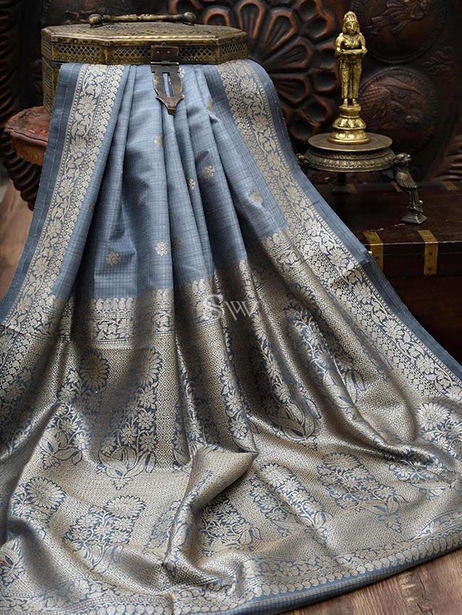 Bluish Grey Pure Dupion Silk Banarasi Saree - Sacred Weaves