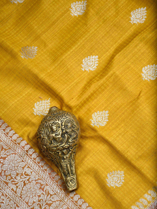Mustard Color Pure Dupion Silk Banarasi Saree - Sacred Weaves