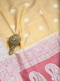 Mustard Pure Dupion Silk Banarasi Saree - Scared Weaves