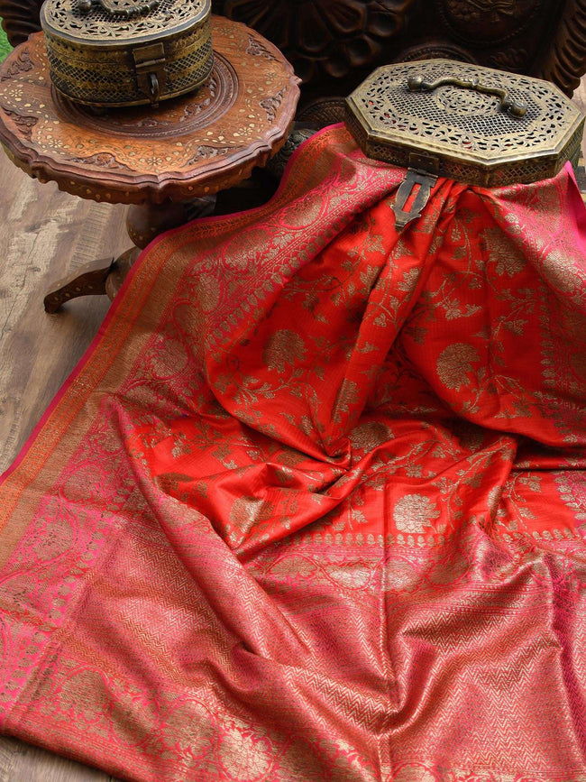 Gorgeous Red Color Antique Zari Jaal Pure Dupion Silk Banarasi Saree - Sacred Weaves