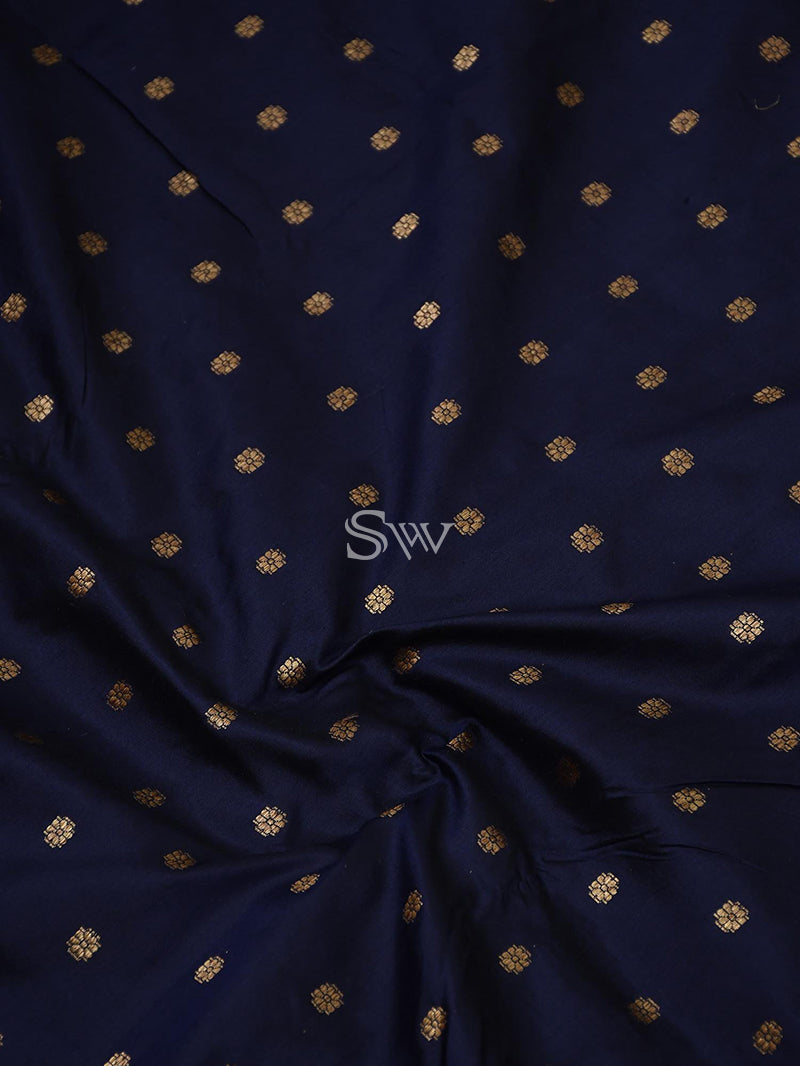 Navy Blue Katan Silk Banarasi Handloom Saree - Sacred Weaves