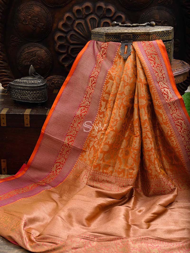 Orange Katan Silk Shikargah Handloom Banarasi Saree - Sacred Weaves