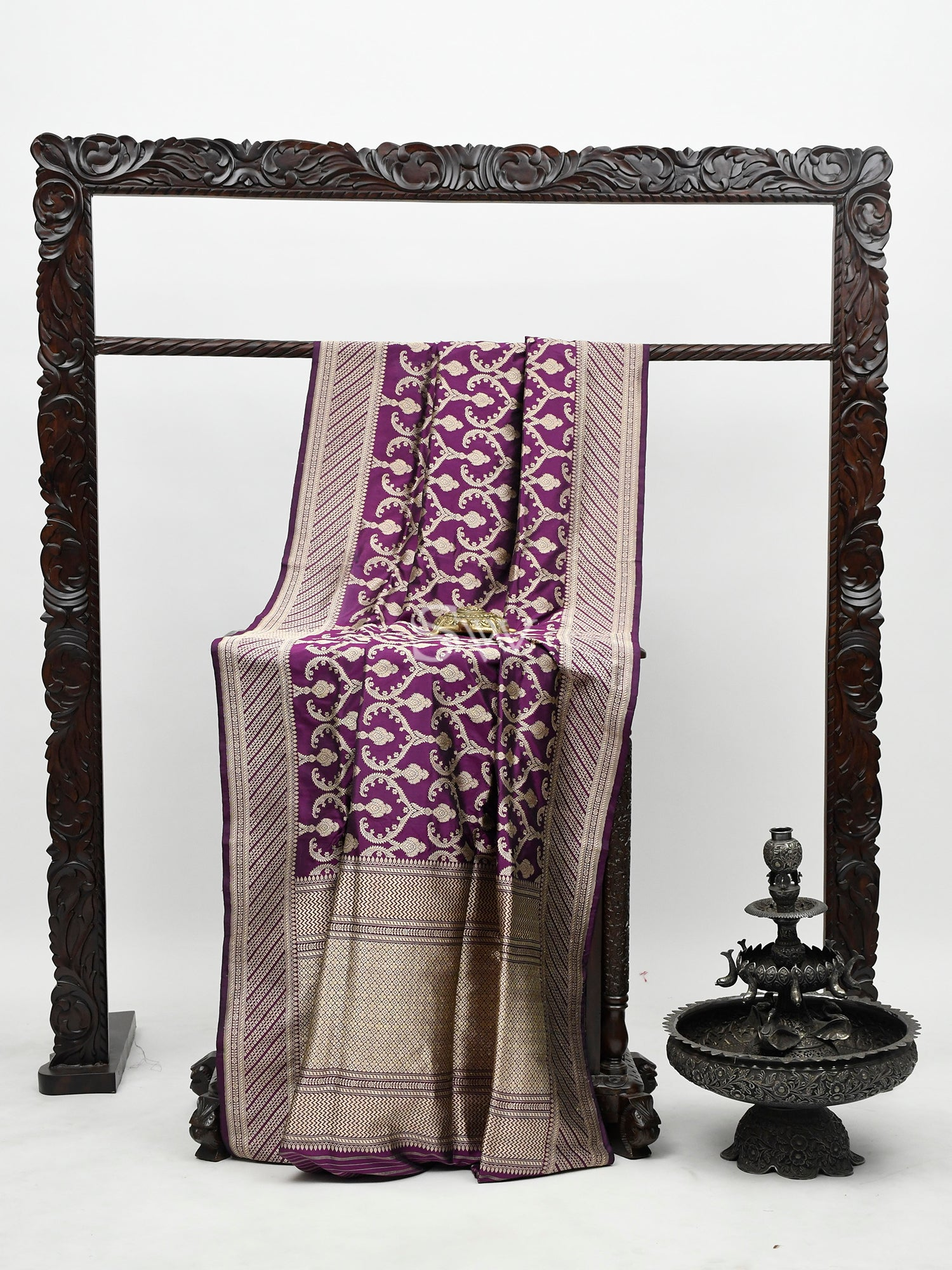 Purple Pink Katan Silk Handloom Banarasi Saree -Sacred Weaves