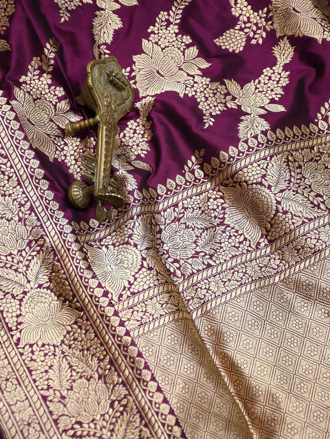 Purple Color Floral Gold Zari Jaal Pure Katan Silk Banarasi Saree - Sacred Weaves