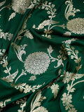 Green Color Floral Gold Zari Jaal Pure Katan Silk Banarasi Saree - Sacred Weaves