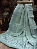 Pastel Mint Green-Grey Tanchoi Jaal Pure Katan Silk Banarasi Saree - Sacred Weaves