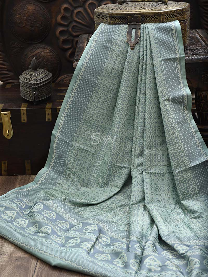 Mint Green-Grey Tanchoi Silk Handloom Banarasi Saree - Sacred Weaves