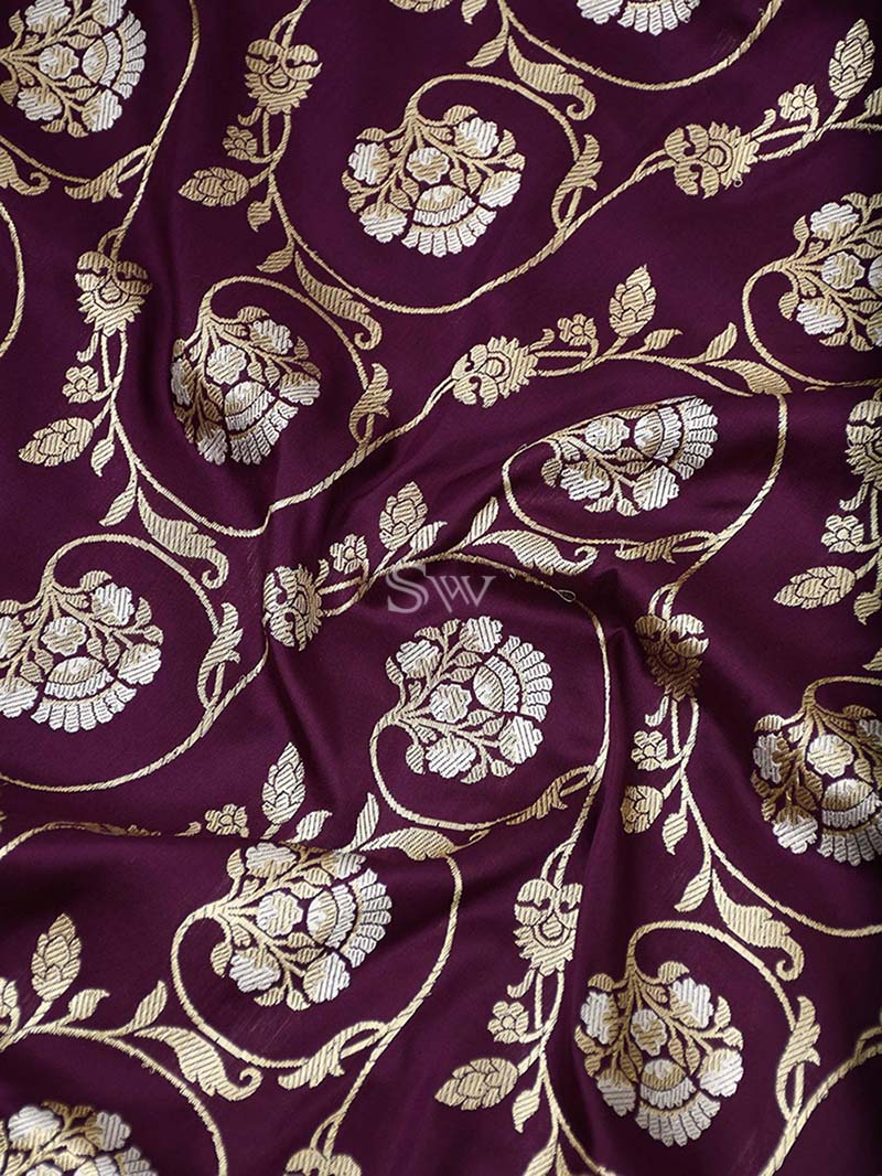 Dark Purple Katan Silk Handloom Banarasi Saree - Sacred Weaves