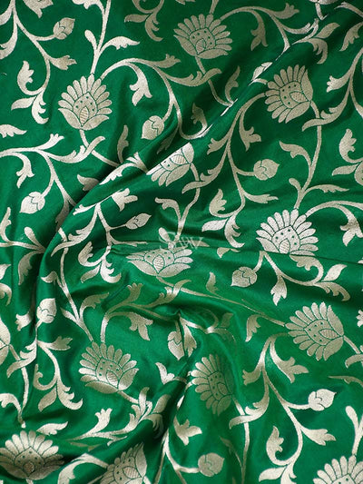 Emerald Green Color Gold Zari Uppada Pure Katan Silk Banarasi Saree - Sacred Weaves