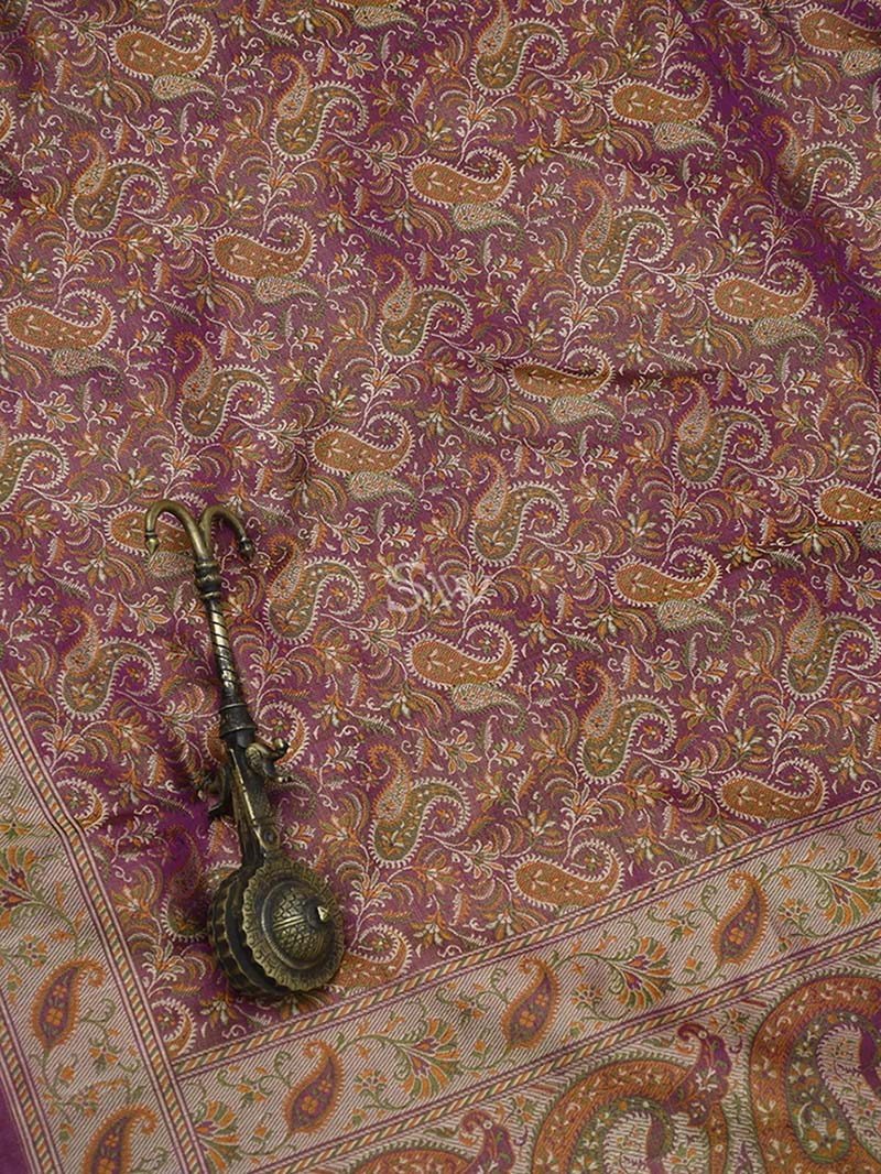 Purple Tanchoi Silk Handloom Banarasi Saree - Sacred Weaves