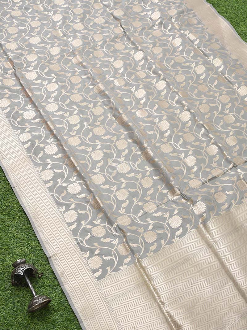 Grey Uppada Katan Silk Handloom Banarasi Saree - Sacred Weaves