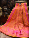 Yellow Pink Tanchoi Jaal Pure Katan Silk Banarasi Saree - Sacred Weaves
