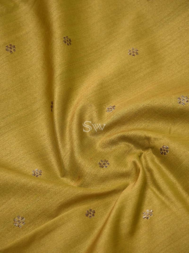 Mustard Yellow Tussar Silk Handloom Banarasi Saree- Sacred Weaves