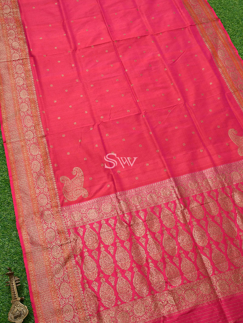 Pink-Orange Tussar Silk Handloom Banarasi Saree - Sacred Weaves