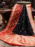 Black Katan Silk Banarasi Handloom Saree - Sacred Weaves