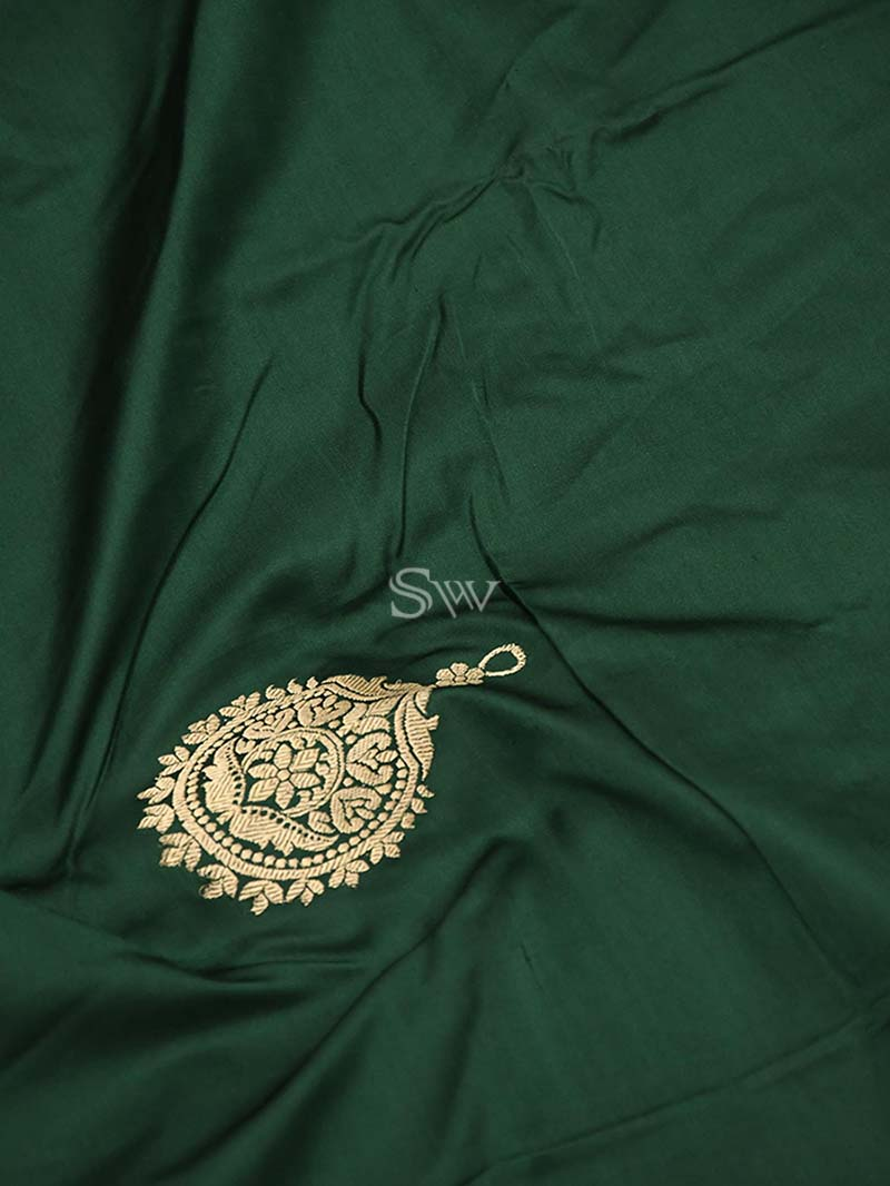 Dark Green Satin Silk Banarasi Handloom Saree - Sacred Weaves