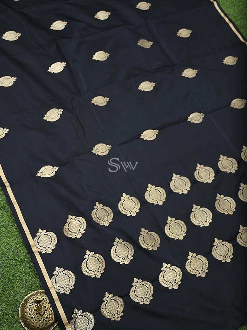 Black Satin Silk Handloom Banarasi Saree - Sacred Weaves