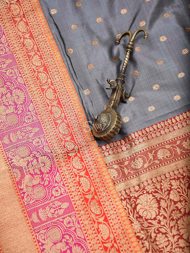 Grey Contrast Shikargah Broad Border Pure Katan Silk Banarasi Saree - Sacred Weaves