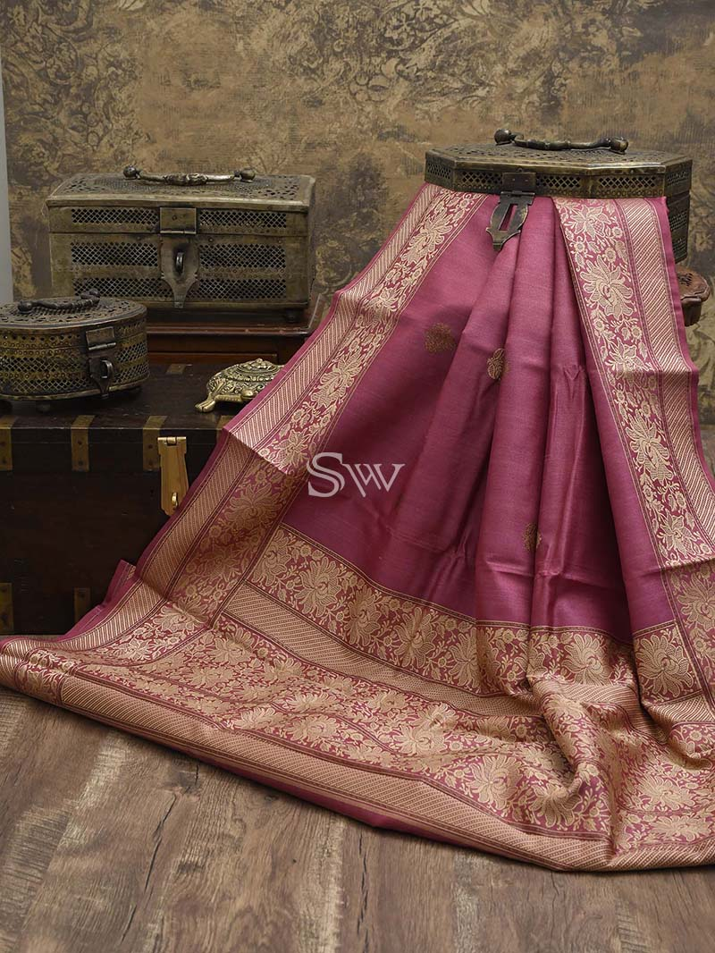 Onion-Pink Tussar Silk Handloom Banarasi Saree - Sacred Weaves