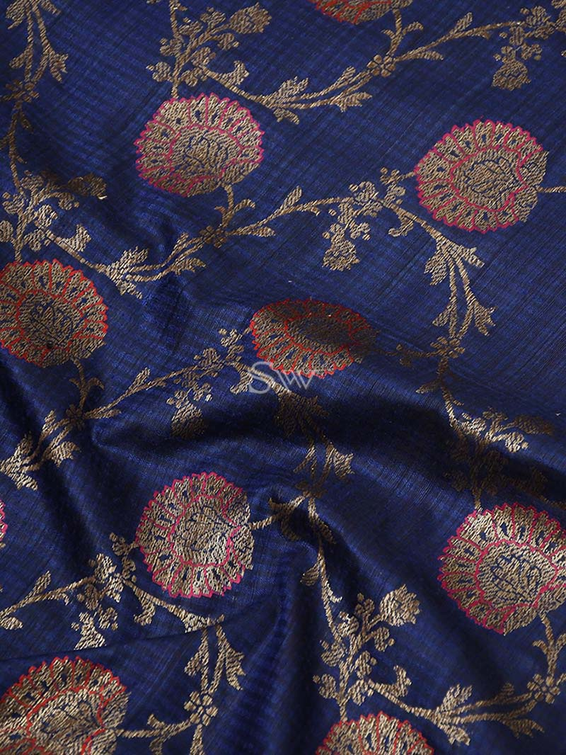 Blue Dupion Silk Handloom Banarasi Saree - Sacred Weaves