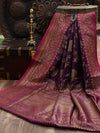 Purple Dupion Silk Banarasi Handloom Saree- Sacred Weaves