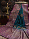 Blue-Green Dupion Silk Banarasi Handloom Saree - Sacred Weaves