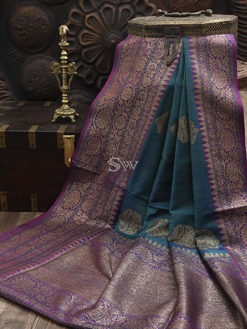 Blue-Green Dupion Silk Handloom Banarasi Saree - Sacred Weaves