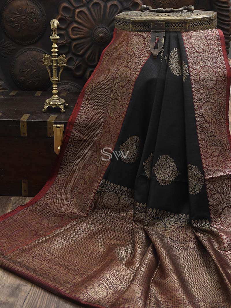 Black Dupion Silk Handloom Banarasi Saree - Sacred Weaves