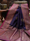 Dark Purple Dupion Banarasi Handloom Saree - Sacred Weaves