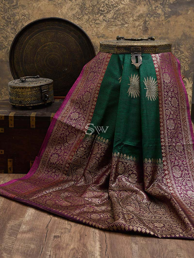 Dark Green Dupion Silk Handloom Banarasi Saree - Sacred Weaves
