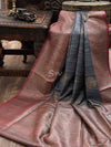 Grey Dupion Silk Banarasi Handloom Saree - Sacred Weaves